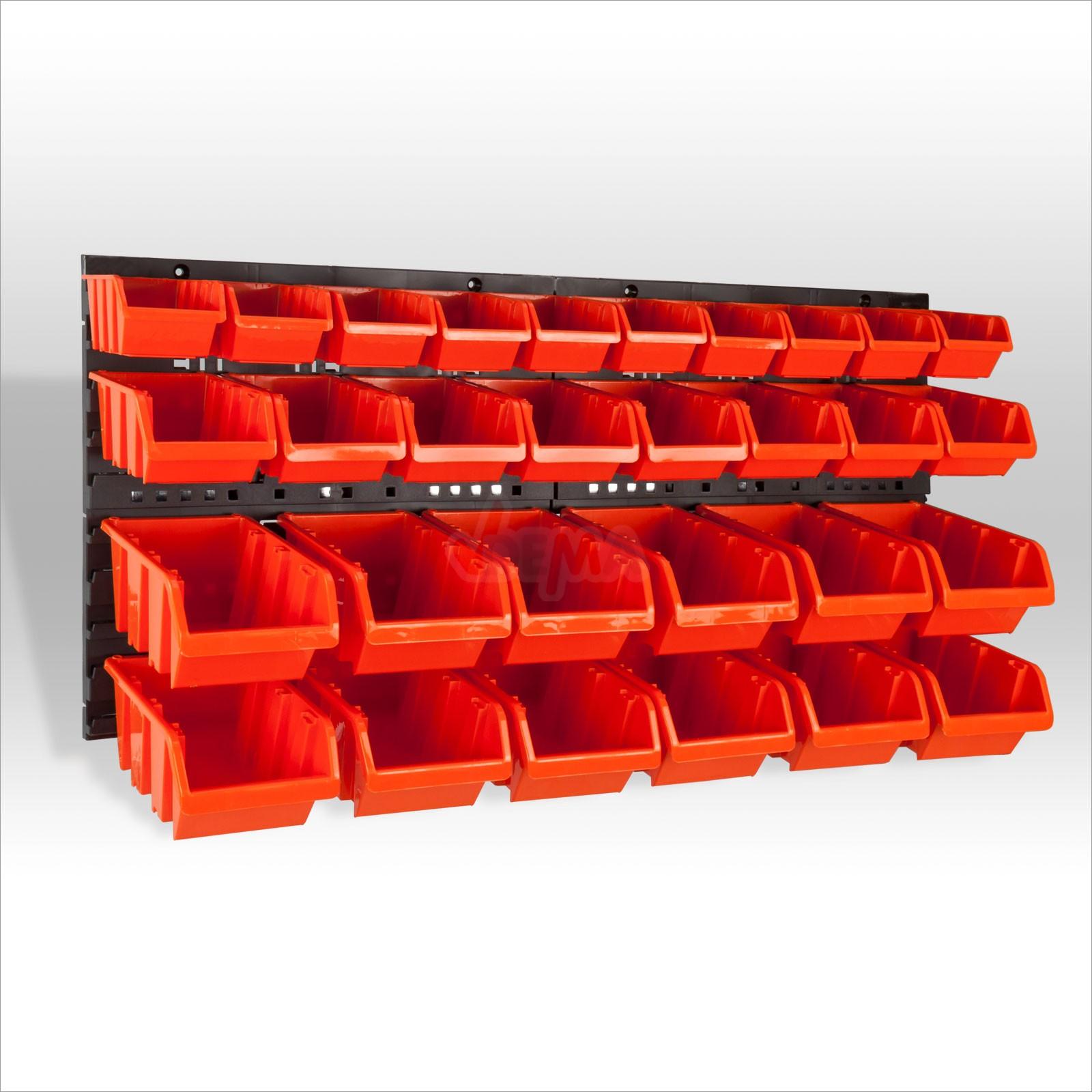 sch ttenregal sch tten kleinteileregal regal mit 30 boxen. Black Bedroom Furniture Sets. Home Design Ideas